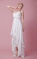 Shimmering Sleeveless Bodice High-low Chiffon Dress With Straps