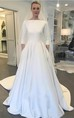 Modest Satin A-line 3/4 Sleeve Bridal Gown with Chapel Train