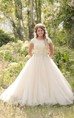 Modest Illusion Scoop Neckline Cap Sleeves Beaded Crystal Lace A-line Wedding Gown