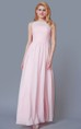 High Neck A-line Chiffon Bridesmaid Dress With Pleats