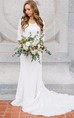 Country Style Vintage Modest Bohemian Lace Chiffon Wedding Gown With 3/4 Sleeves