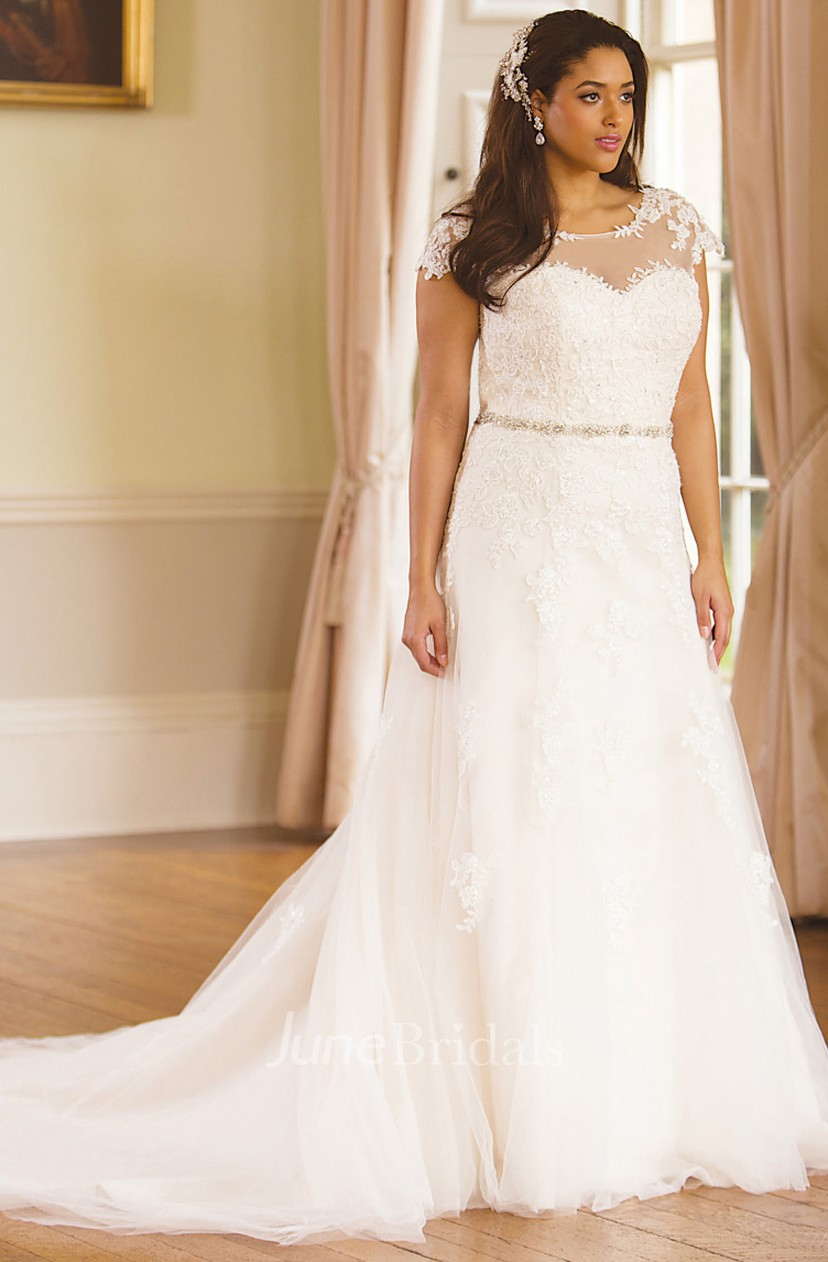 Jeweled Scoop-Neck Cap-Sleeve Lace Plus Size Wedding Dress